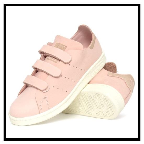 阿迪达斯 (adidas) 司参加斯坦史密斯 OP CF W (斯坦 · 史密斯) 尼龙搭扣运动鞋 VAPPNK/VAPPNK/OWHITE (粉色/白色) S32271 无止境的旅途 (无休止的旅行)