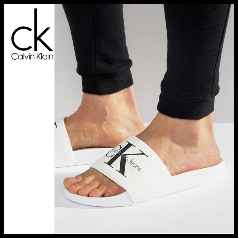 Viggo Logo Sliders in White - White Calvin Klein Aqmmm