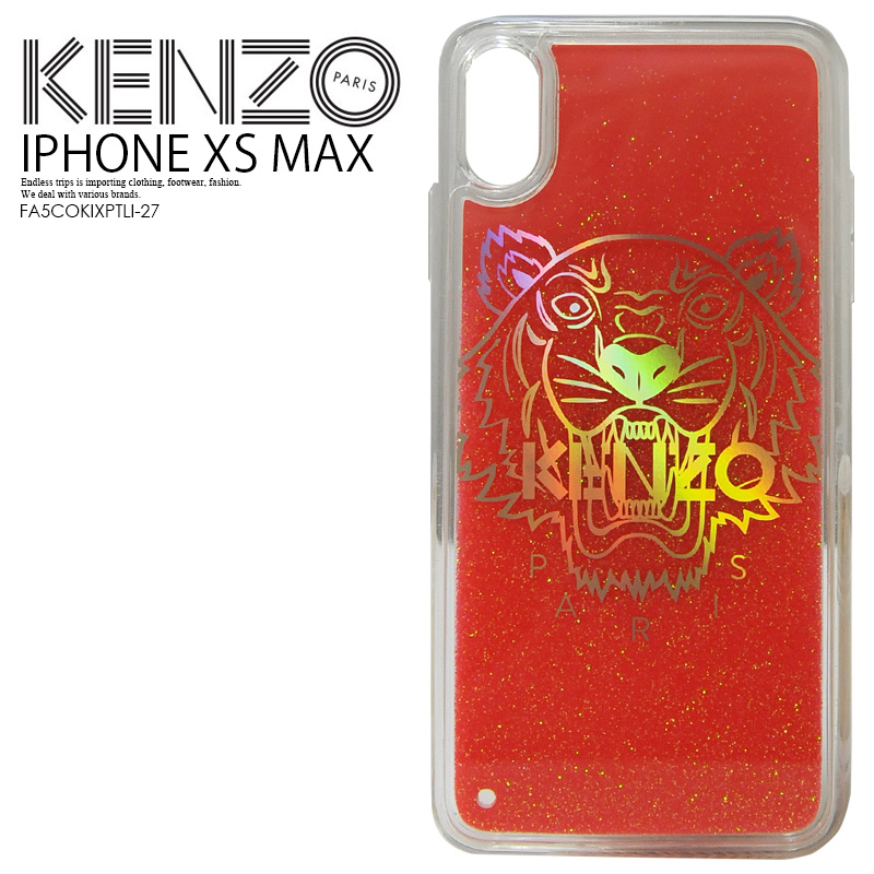 【大人気! 希少!】 KENZO(ケンゾー) TIGER GLITTER IPHONE XS MAX CASE (タイガー グリッター アイフォン テンエス マックス ケース) iPhone XS MAX対応 スマホケース 赤 CORAL (コーラル) FA5COKIXPTLI-27 ENDLESS TRIP ENDLESSTRIP