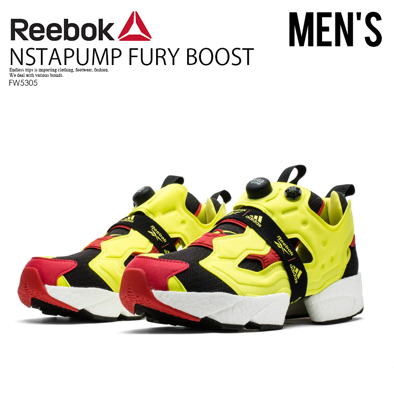 【希少! 大人気!】 REEBOK x adidas (リーボック×アディダス) INSTAPUMP FURY BOOST (インスタポンプ フューリー ブースト) シトロン スニーカー メンズ BLACK/HYPGRN/RBKRED (ブラック/イエロー/レッド) FW5305