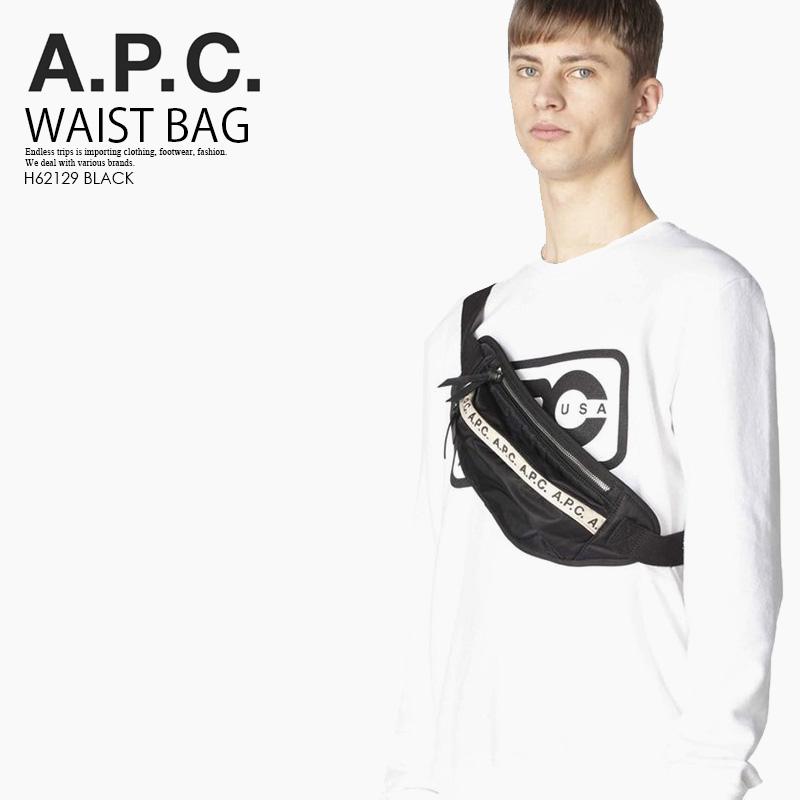 【大人気! 希少!】A.P.C. (アーペーセー) BANANE REPEAT HIP BAG (バナナ リピート ヒップ バッグ) ボディバッグ ウエストバッグ ユニセックス メンズ レディース BLACK(ブラック) H62129 BLACK