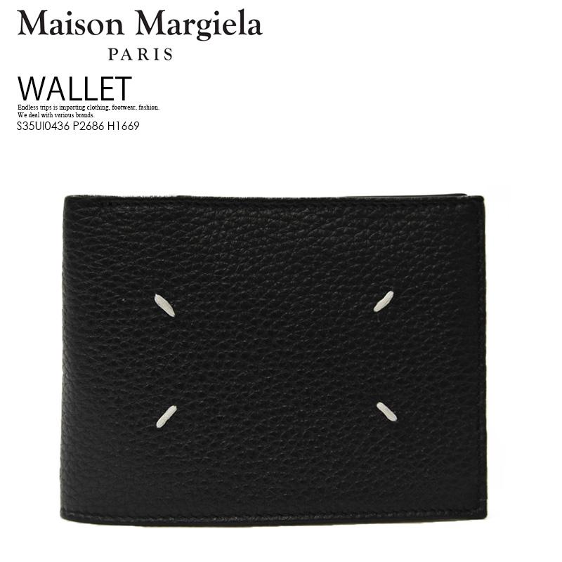 【希少! 大人気!】Maison Margiela (メゾン マルジェラ) Leather Zip Wallet (レザー ジップ ウォレット) 2つ折り財布 本革 イタリア製 ユニセックス メンズ 黒 BLACK/BLACK (ブラック) S35UI0436 P2686 H1669