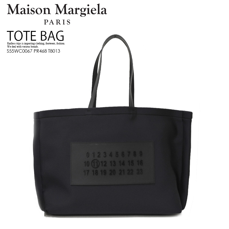 【希少! 大人気!】Maison Margiela (メゾン マルジェラ) Neoprene number 11 logo shopping tote bag (ネオプレン ナンバー 11 ロゴ ショッピング バッグ) トートバッグ ユニセックス メンズ レディース BLACK (ブラック) S55WC0067 PR468 T8013