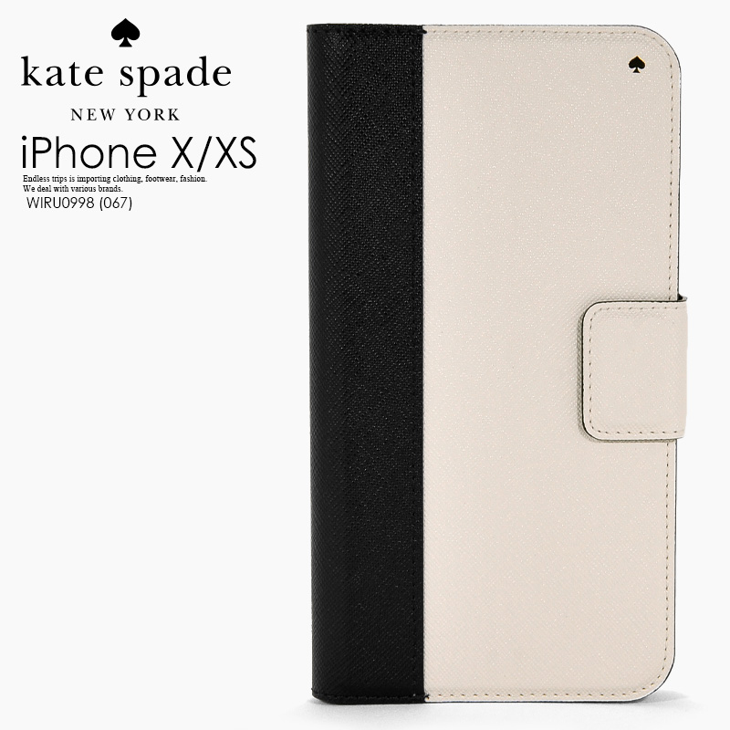 【海外限定 希少】 kate spade ケイトスペード COLORBLOCK FOLIO IPHONE X & XS FOLIO CASE (カラーブロック フォリオ iphoneX iphoneXS ケース) レディース スマホケース 手帳型ケース アイフォン BLACK/CEMN(067) (ブラック ホワイト) WIRU0998