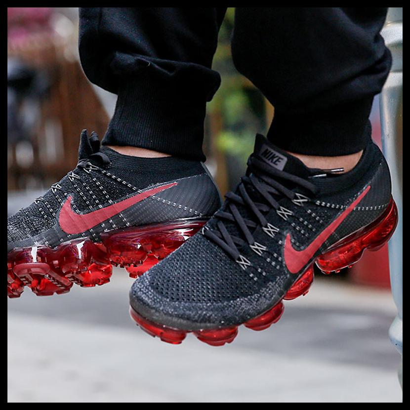4b9d428c5114 Nike Air VaporMax Flyknit Dark Team Red Dark Red Black Men s Running Shoes