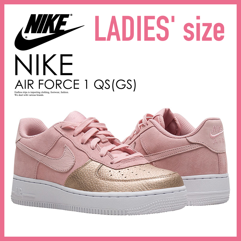 nike nike air force 1 qs gs air force one qs kids model sneakers sheen prism pink pink gold  pink ah8147 600
