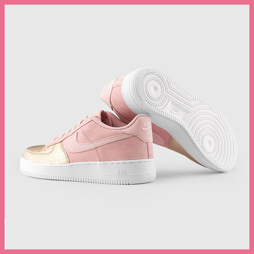 NIKE (Nike) AIR FORCE 1 QS (GS) (Air Force One QS) kids model sneakers SHEEN/PRISM PINK (pink gold / pink) AH8147 600