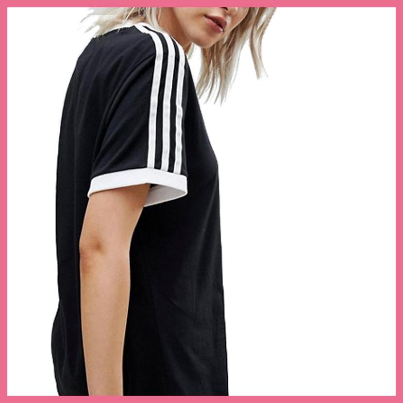 adidas originals damen t-shirt 3 stripes tee cy4751 schwarz
