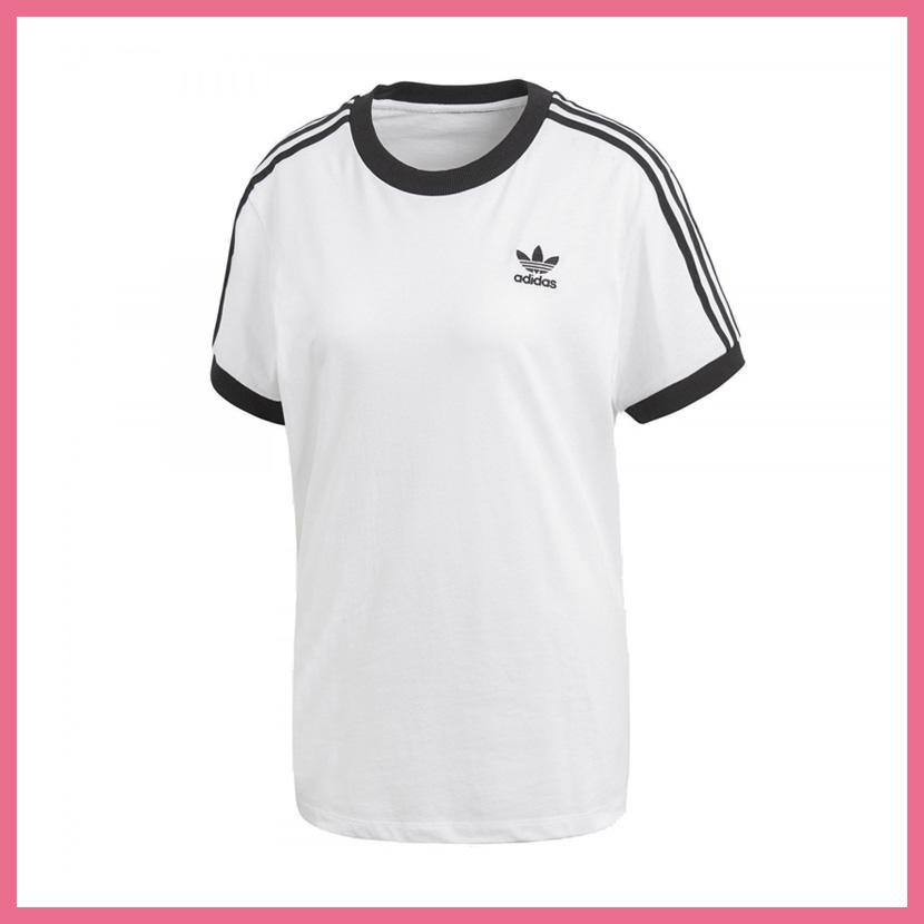 It is lady s T-shirt adidas (Adidas) WOMENS 3-STRIPES TEE (3 stripe T-shirt)  LADYS women T-shirt short sleeves logo California WHITE BLACK (white    black) ... db2d1d38fa