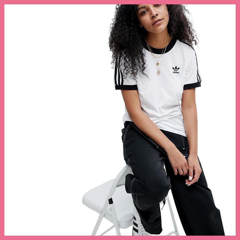 328e7de6427b It is lady's T-shirt adidas (Adidas) WOMENS 3-STRIPES TEE (3 stripe T-shirt)  LADYS women T-shirt short sleeves logo California WHITE/BLACK (white /  black) ...