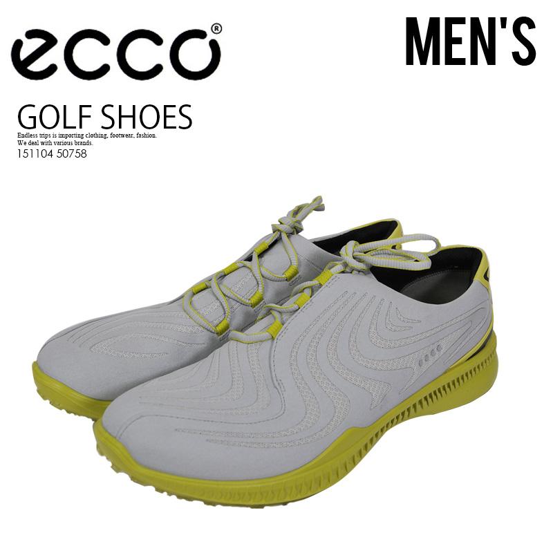 【希少! メンズ スパイクレス ゴルフシューズ】 ECCO(エコー)S DRIVE (エス ドライブ) 撥水 GOLF SHOES CONCRETE KIWI (グレー/イエロー) 151104 50758 ENDLESS TRIP ENDLESSTRIP エンドレストリップ
