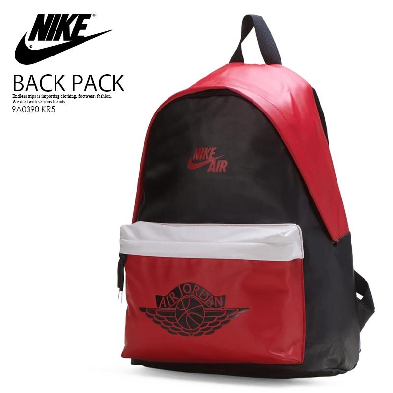【希少! 大人気!】 NIKE (ナイキ) JORDAN AIR JORDAN 1 BACKPACK (ジョーダン エア ジョーダン 1 バックパック) リュック ユニセックス メンズ BLACK/GYM RED (ブラック/レッド) 9A0390 KR5