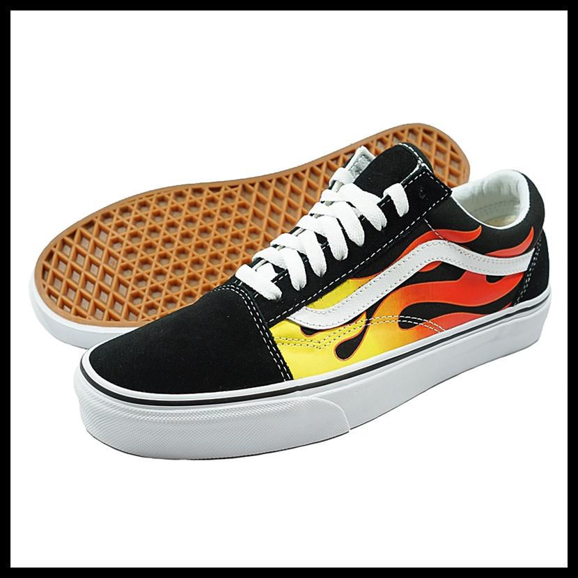 VANS (station wagons) OLD SKOOL (old school) vans sneakers (FLAME)BLACKBLACKTR WHT (black white) fire VN0A38G1PHN