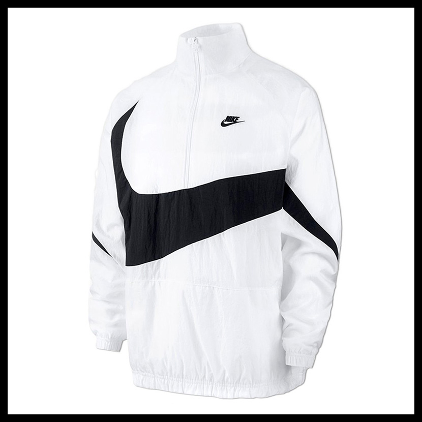 NIKE (Nike) SWOOSH WOVEN HALFZIP JACKET( wish Woo half zip jacket) men s  lady s jacket nylon WHITE BLACK (white   black) AJ2696 100 pickup 70f910df02a9