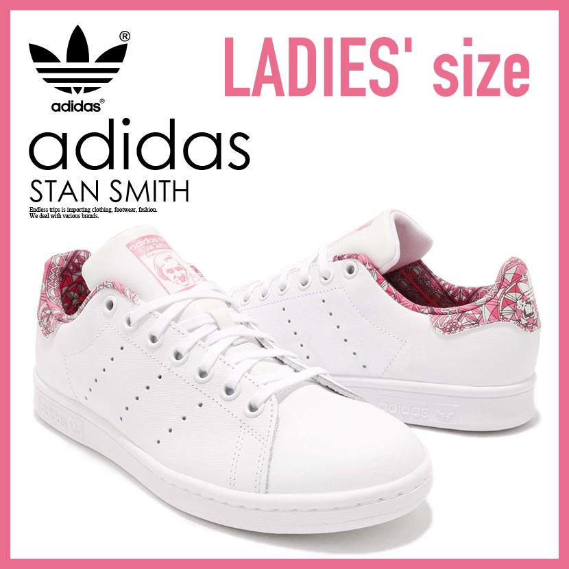 【希少!大人気!レディース サイズ】 adidas(アディダス)STAN SMITH J (スタン スミス) キッズモデル スニーカー FTWWHT/FTWWHT/CHAPNK (ホワイト/ピンク) CM8189