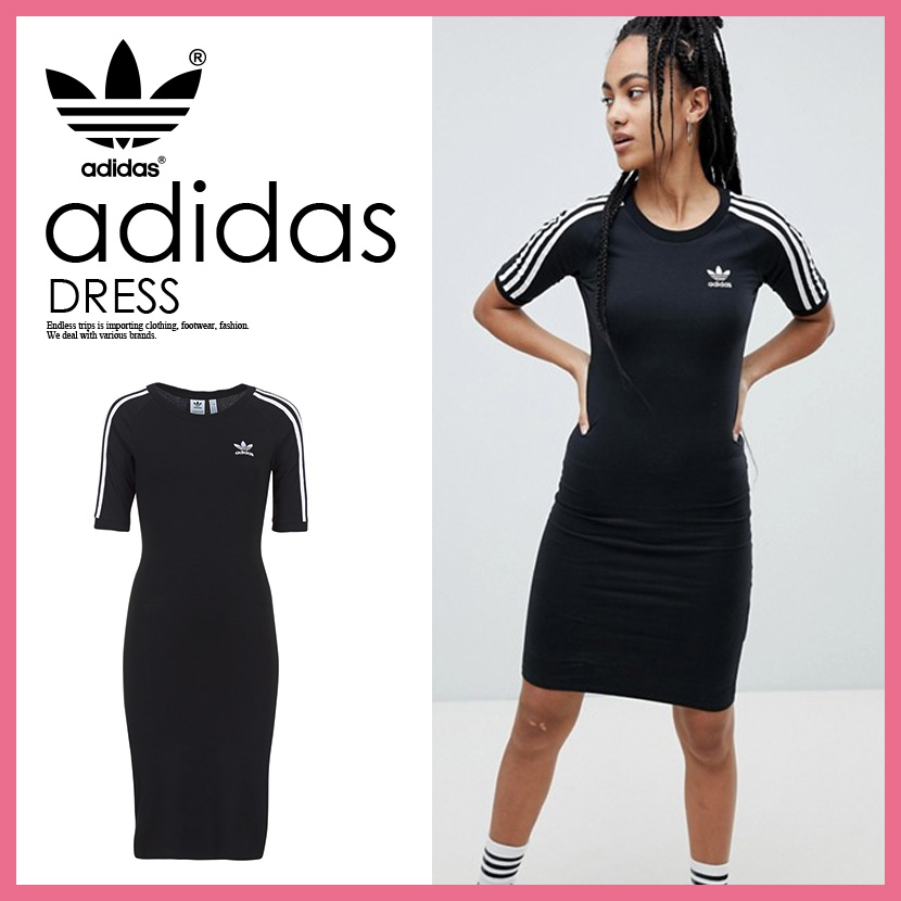 【日本未入荷! 希少! レディース ワンピース】 adidas (アディダス) WOMENS 3 STRIPES DRESS (3 STRIPES DRESS) (3 ストライプス ドレス) ワンピ ロゴ 半袖 Tシャツワンピ BLACK (ブラック) CY4748 ENDLESS TRIP ENDLESSTRIP エンドレストリップ