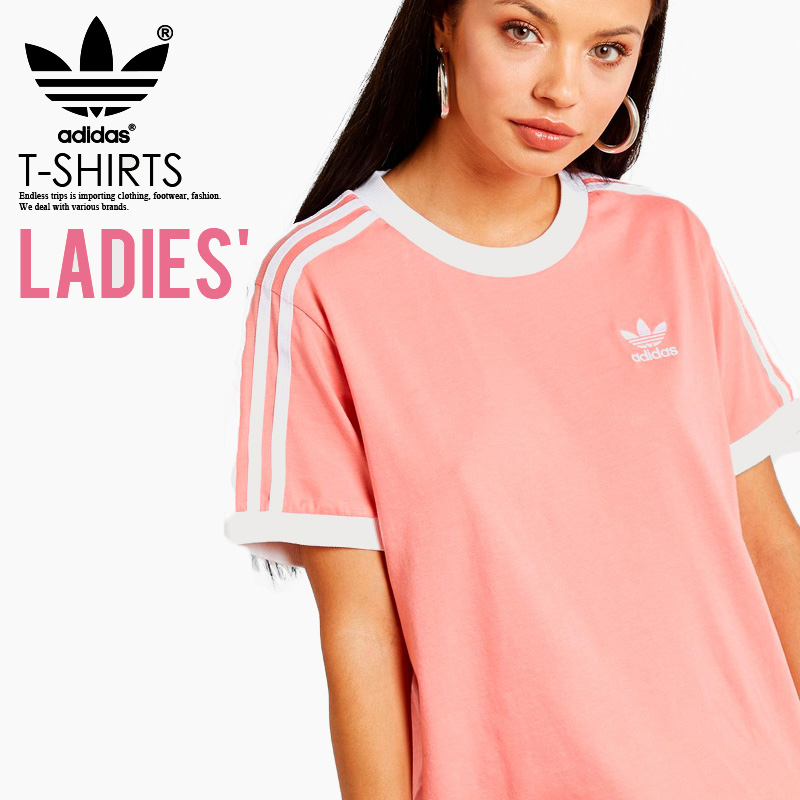100% authentic b2397 179a7 adidas (Adidas) WOMENS 3-STRIPES TEE (3 stripe T-shirt) LADYS women T-shirt  short sleeves logo California TACTILE ROSE (Rose) pink DH3186 ENDLESS TRIP