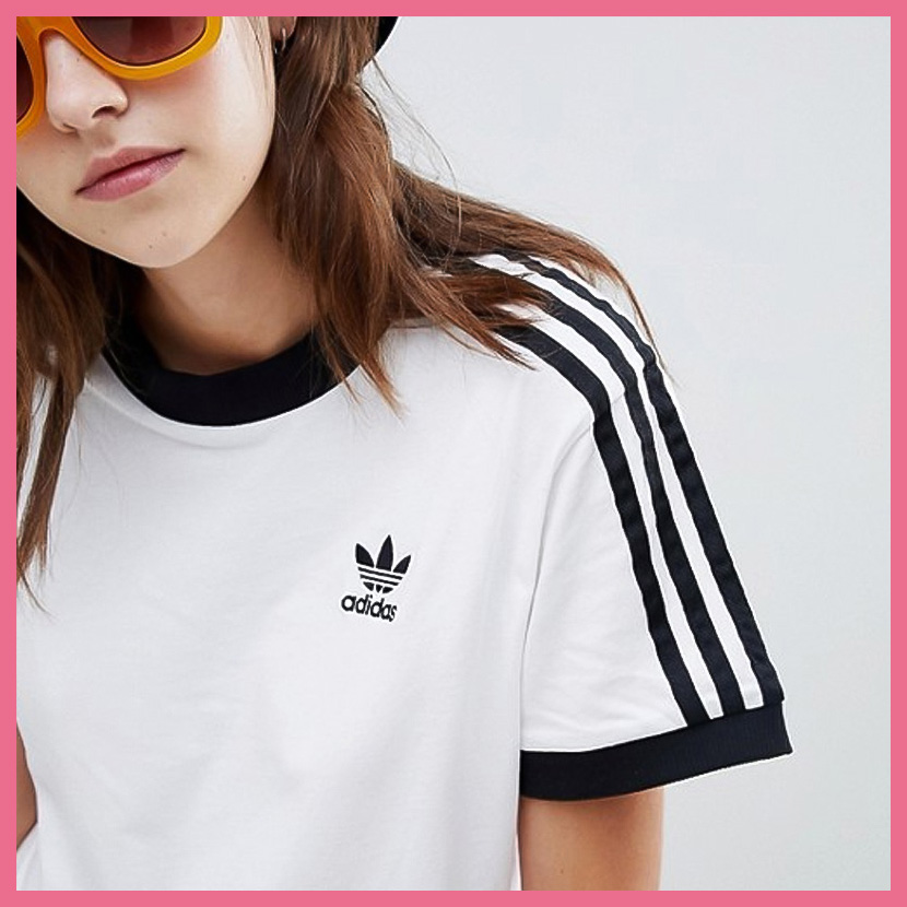 adidas 3 stripe t shirt womens