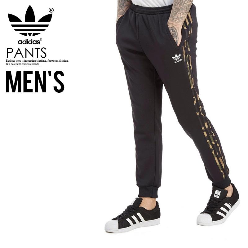 【お買い物マラソン】【日本未入荷! 希少! メンズ パンツ】 adidas (アディダス) TREFOIL CAMO PANTS (トレフォイル カモ パンツ) MENS メンズ パンツ ジャージ カモフラ柄 迷彩柄 BLACK (ブラック) DH6895 アスレジャー スポーツミックス