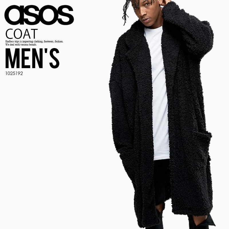 1025192 ASOS (エイソス) EXTREME OVERSIZED BORG DUSTER COAT IN BLACK (extreme  oversize Bogue duster in black) men s ENDLESS TRIP pickup 718a5b3a07c5