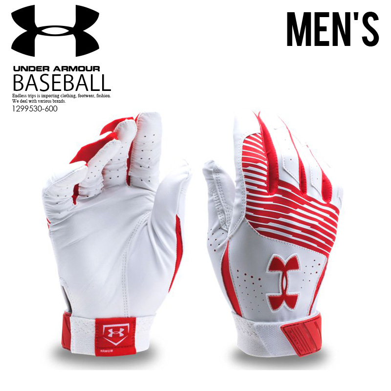 UNDER ARMOUR (under Armour) UA CLEAN UP BATTING GLOVES (clean up) baseball  glove gloves pair both hands RD/WH (red / white) 1,299,530-600 ENDLESS TRIP