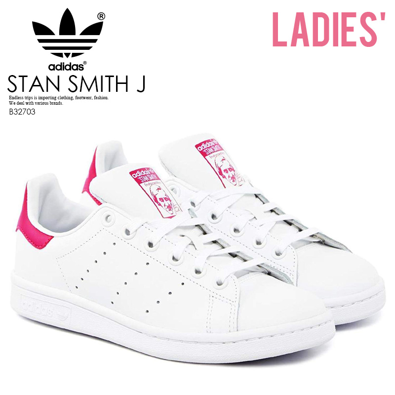 adidas ORIGINALS (Adidas) STAN SMITH J (Stan Smith) Lady s shoes sneakers  FTWWHT FTWWHT BOPINK (white   pink) B32703 ENDLESS TRIP ENDLESSTRIP end  rest lip 26ce39fab