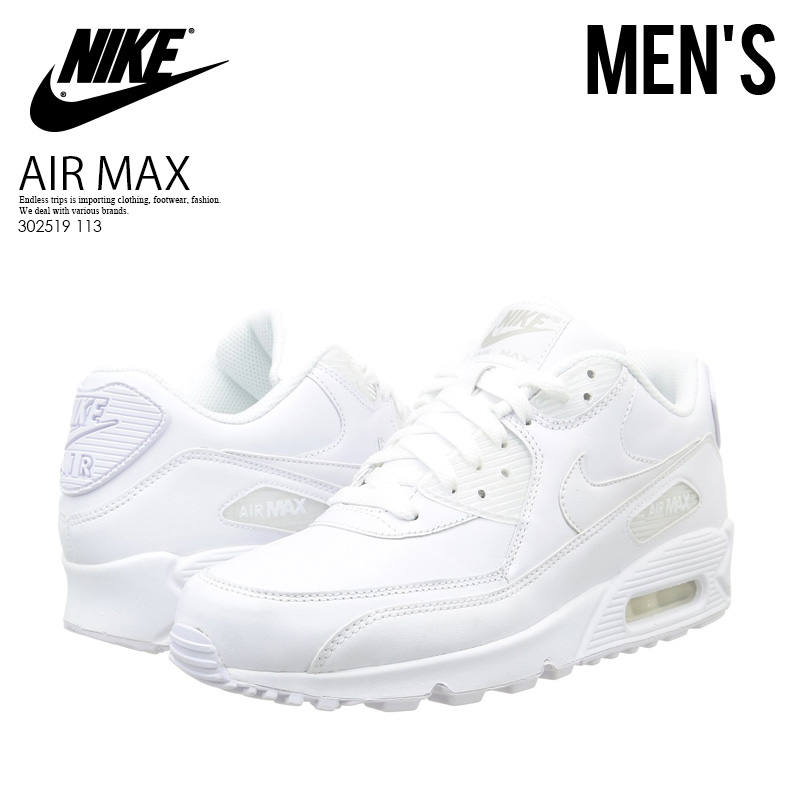 new style bb49c 5ea30 NIKE (Nike) AIR MAX 90 LEATHER (Air Max 90 leather) men s sneakers (WHITE  WHITE) white (302519 113) ENDLESS TRIP pickup