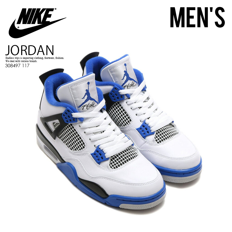 premium selection f202f ce45e NIKE (Nike) AIR JORDAN 4 RETRO (nostalgic Air Jordan 4) MENS sneakers shoes  WHITE GAME ROYAL-BLACK (white   blue   black) 308497 117 ENDLESS TRIP pickup