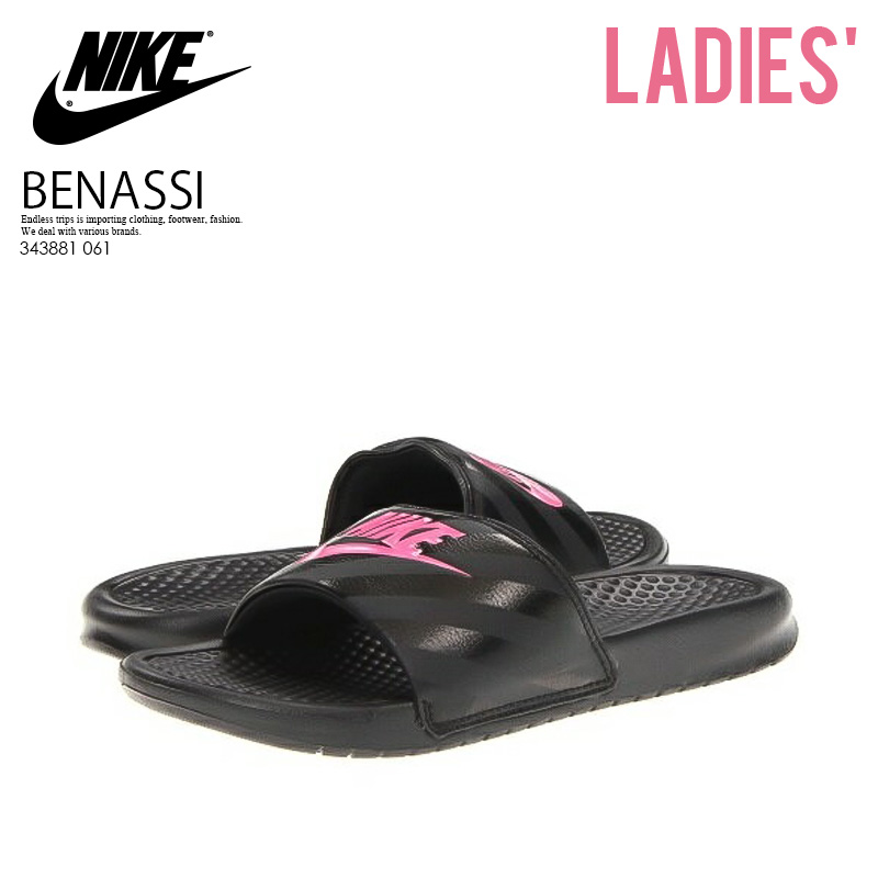 9a98b7f90125 NIKE (Nike) WOMENS BENASSI JDI (ベナッシ JDI) lady s healthy shower sandals ( BLACK VIVID PINK-BLACK) black   pink (343881 061) ENDLESS TRIP pickup