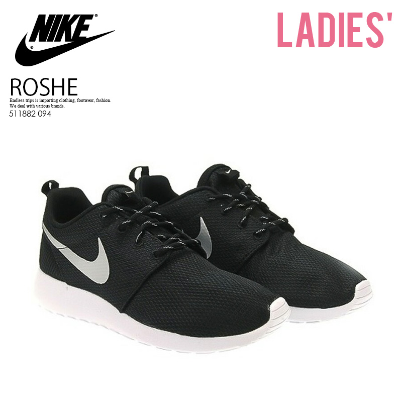 ead921a29b44 NIKE (Nike) ROSHE ONE Losey one ROSHERUN low silane WOMENS sneakers  BLACK METALLIC PLATINUM-WHITE black   white (511882 094) ROSHEONE ENDLESS  TRIP pickup