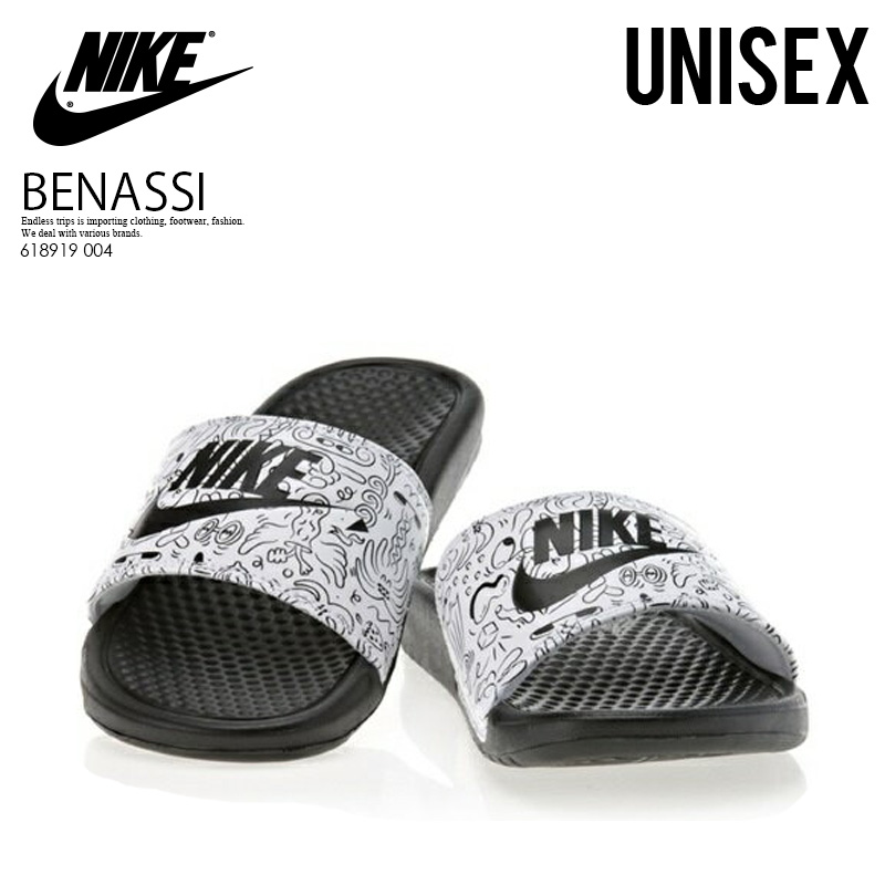 online retailer 653d5 8bfda NIKE (Nike) WOMENS BENASSI JDI PRINT (ベナッシ JDI print) healthy shower  sandals (BLACKBLACK-WHITE) black  white (618919 004) ENDLESS TRIP  ENDLESSTRIP end ...