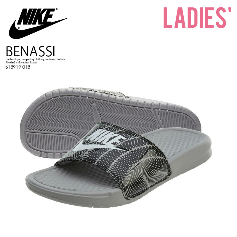 4a6797ab0953 NIKE (Nike) WOMENS BENASSI JDI PRINT (ベナッシプリント) shower sandals Hel sea  sandals ATMOS PHERE GREY WHITE-BLACK (gray   black   white) 618919 018  pickup