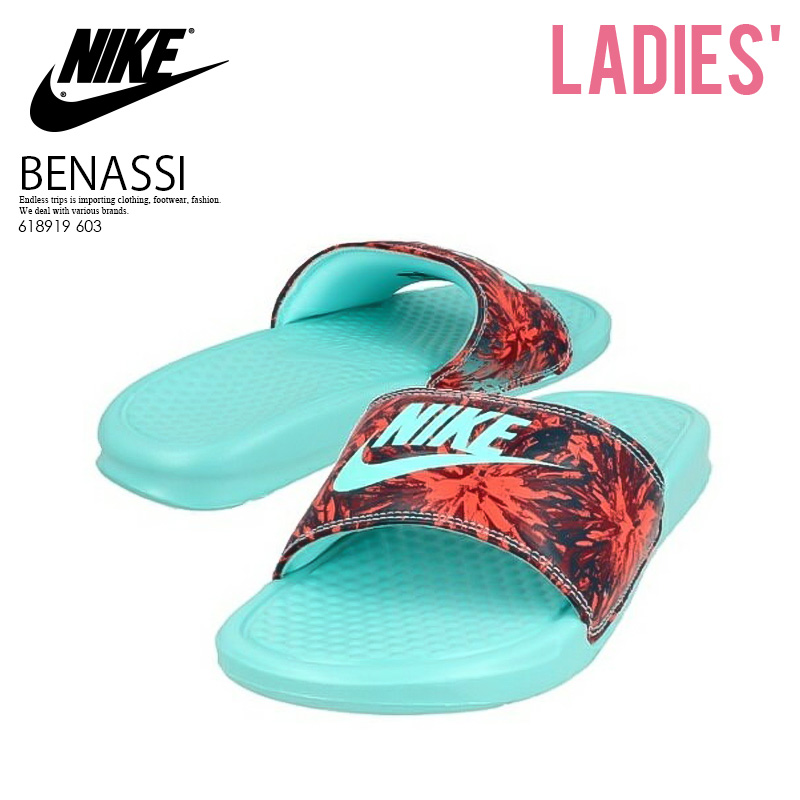 f3a829997c27 NIKE (Nike) WOMENS BENASSI JDI PRINT (ベナッシ JDI print) healthy shower  sandals (BRGHT CRMSN HYPR TRQ-MID TRQ-C) red   turquoise (618919 603)  ENDLESS TRIP ...