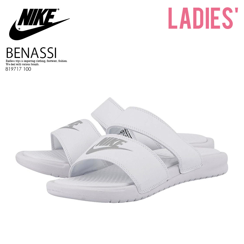 NIKE (Nike) WOMENS BENASSI DUO ULTRA SLIDE (Benassi Duo Ultra slide) women s  healthy shower Sandals (SILVER WHITE METALLIC) white silver (819717 100) ... 1686c0443