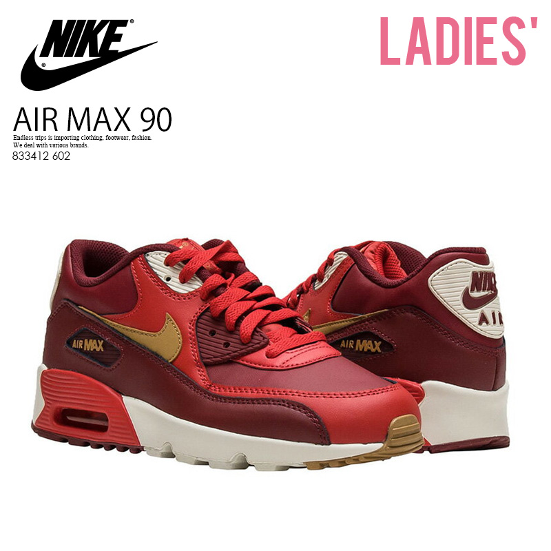 ENDLESS TRIP | Rakuten Global Market: Only just! PT5 + to double! NIKE (Nike) AIR MAX 90 LEATHER (GS) (Air Max 90 leather) WOMENS women sneakers GAME RED/ELEMENTAL GOLD (red / gold) 833412 602