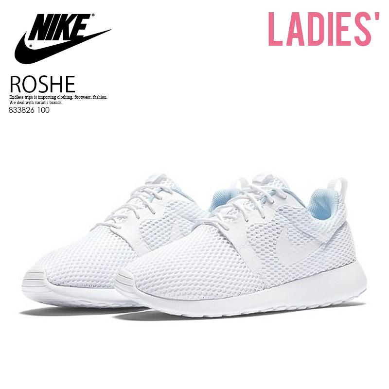 c63e83ba0b02 NIKE (Nike) WOMENS NIKE ROSHE ONE HYPER BREATH (ローシワンハイパーブリーズ) HYP BR  sneakers (WHITE WHITE-PURE PLUTINUM) white   platinum (833826 100) ...