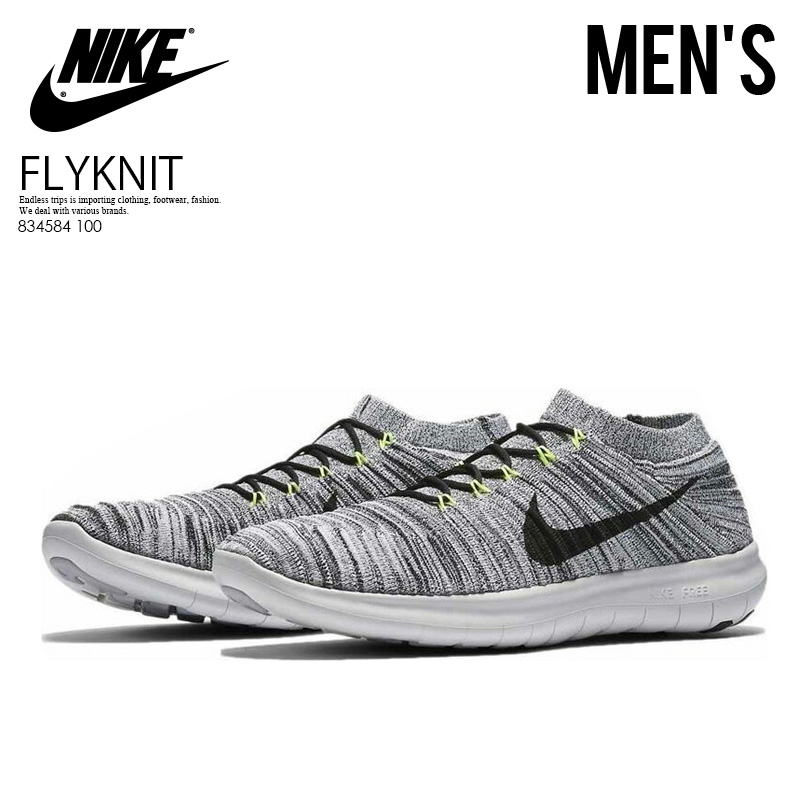 ac00fbbe75b8e NIKE (Nike) FREE RUN MOTION FLYKNIT (free orchid motion fly knit) MENS  sneakers WHITE BLACK-VOLT-OFF WHITE (white   black   yellow) 834584 100  ENDLESS TRIP ...