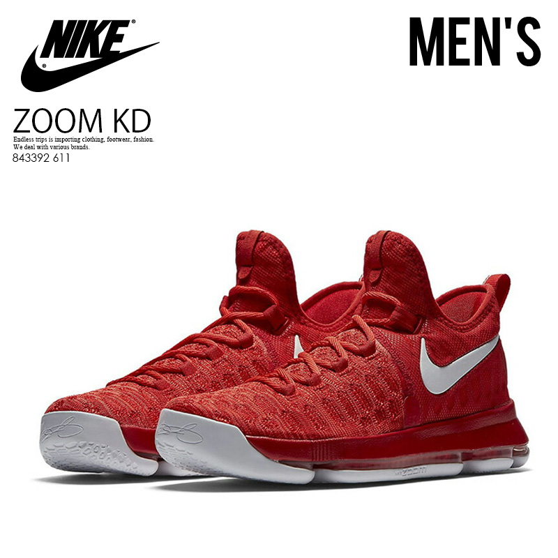 b8b5252c2e9 NIKE (Nike) ZOOM KD 9 (zoom) MENS sneakers Kevin Durant basketball  UNIVERSITY RED WHITE (red   white) 843392 611 ENDLESS TRIP ENDLESSTRIP end  rest lip