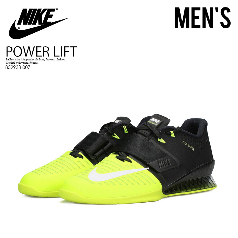 Raise it by NIKE (Nike) ROMALEOS 3 (Roma Leos) MENS weightlifting  powerlifting weight  shoes BLACK WHITE-VOLT (black   yellow) 852933 007  ENDLESS TRIP ... 56846a1b7277