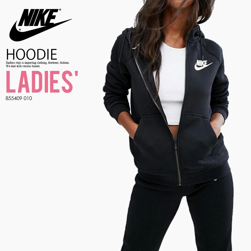 NIKE (Nike) WOMENS RALLY HOODIE FULL ZIP (ラリーフーディーフルジップ) zip up parka logo BLACKWHITE (black white) 855409 010 ass recreation sports mixture