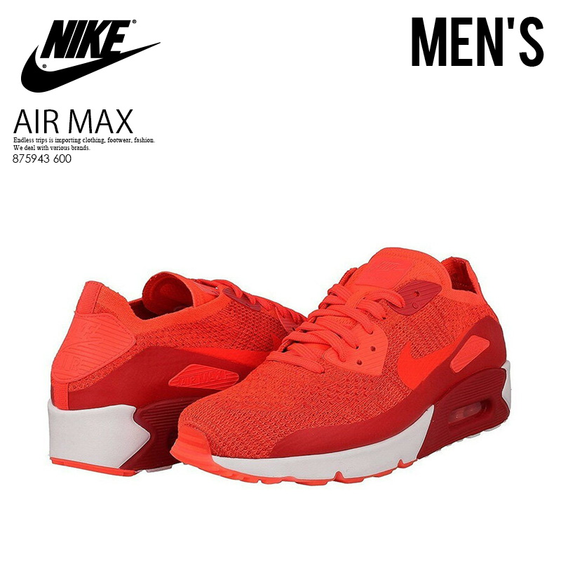 NIKE (Nike) AIR MAX 90 ULTRA 2.0 FLYKNIT (Air Max 90 ultra fly knit) MENS sneakers BRIGHT CRIMSONBRIGHT CRIMSON (blight crimson) 875943 600 ENDLESS
