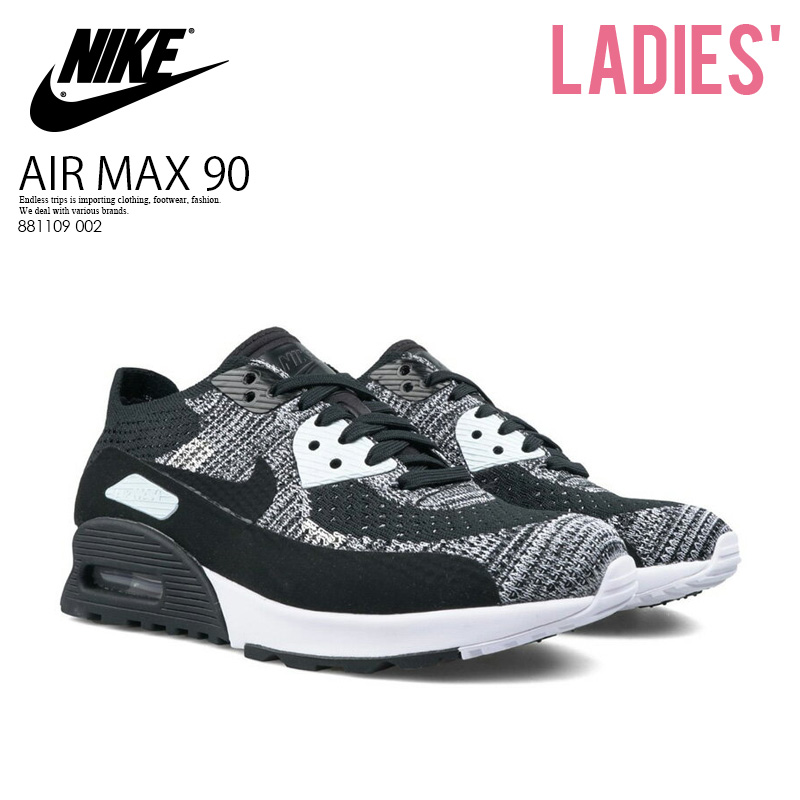 buy online 9d9ec c2557 NIKE (Nike) WOMENS AIR MAX 90 ULTRA 2.0 FLYKNIT (Air Max 90 ultra 2.0 fly  knit) women sneakers BLACK/BLACK-WHITE-ANTHRACITE (black / white) 881109  002 ...