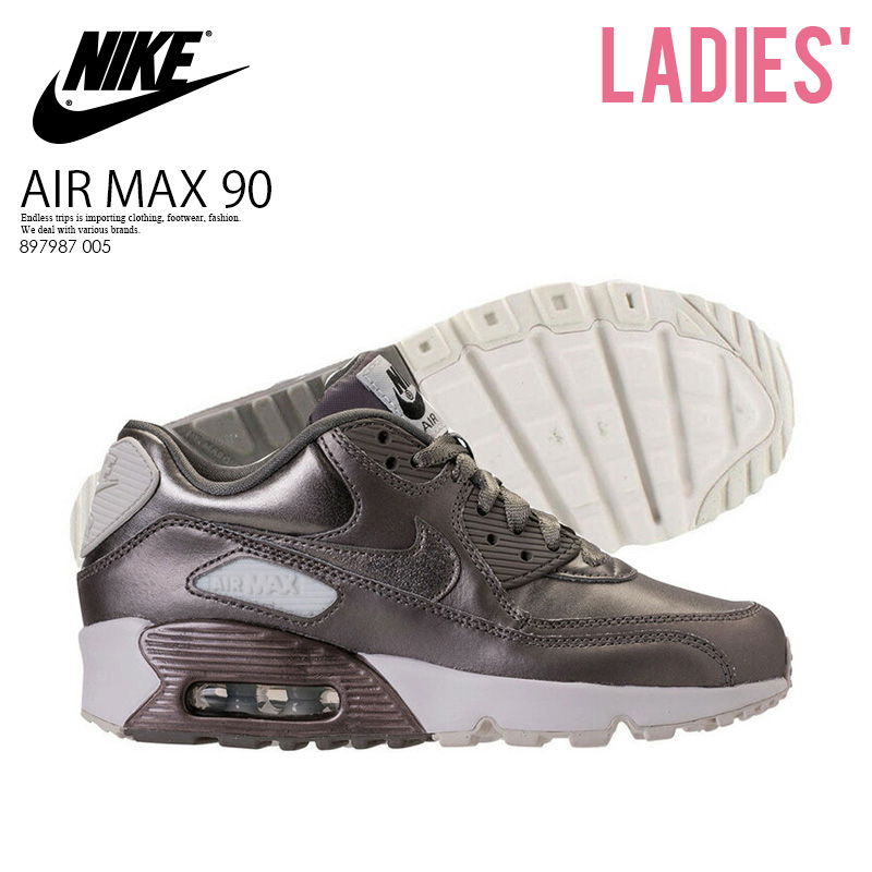 classic fit 49912 1c93e NIKE (Nike) AIR MAX 90 LEATHER SE GG (Air Max 90 leather) WOMENS women  sneakers MTLC PEWTER/MTLC PEWTER (metallic pewter) metal gray 897987 005 ...