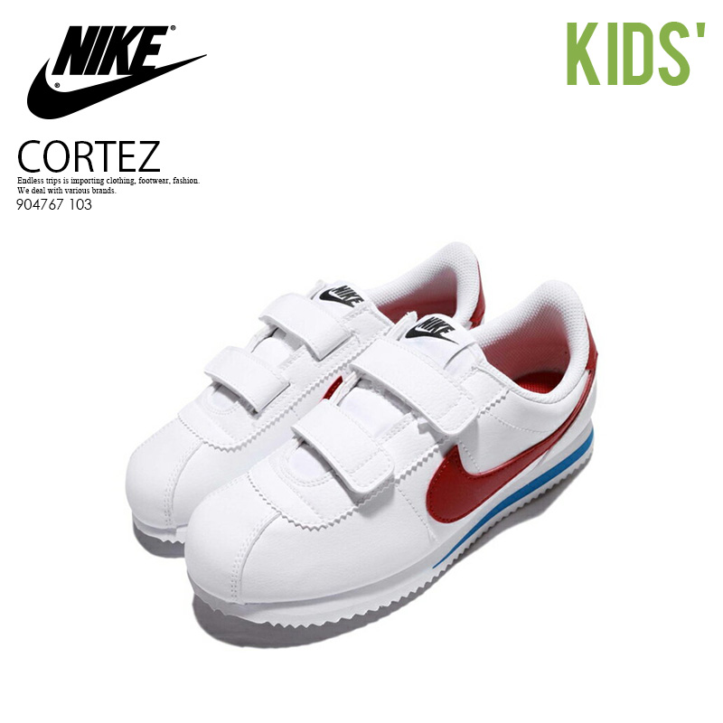 NIKE (Nike) CORTEZ BASIC SL (GS) (コルテッツベーシック) kids model infant kids  sneakers WHITE VARSITY RED (white   red   blue) 904767 103 ENDLESS TRIP ... 100fbd337