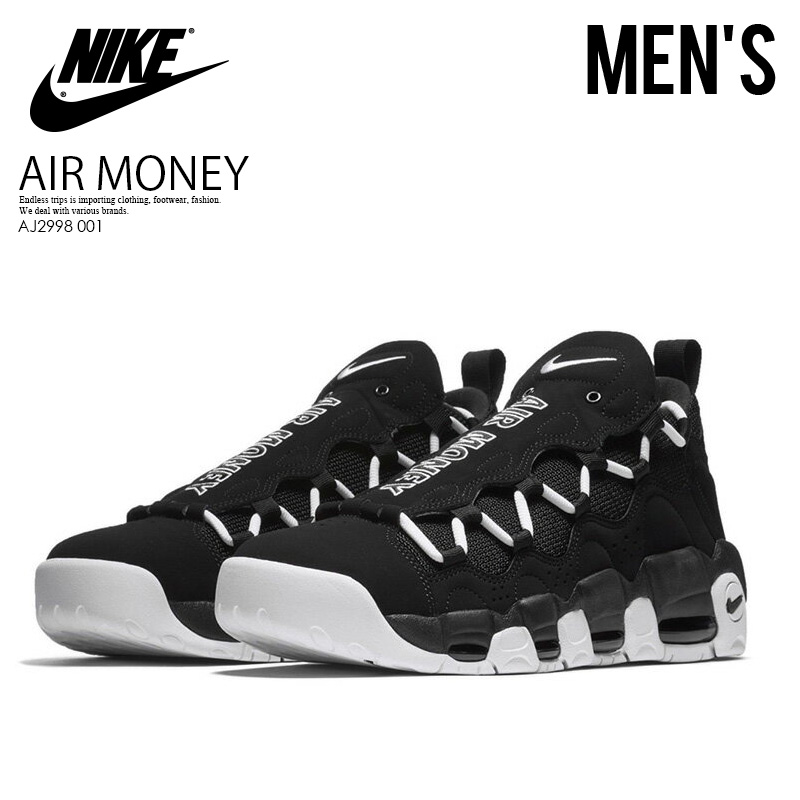 f3191395029f2 NIKE (Nike) AIR MORE MONEY (air more money) sneakers BLACK WHITE-BLACK ( black   white  ) AJ2998 001 endless trip ENDLESSTRIP