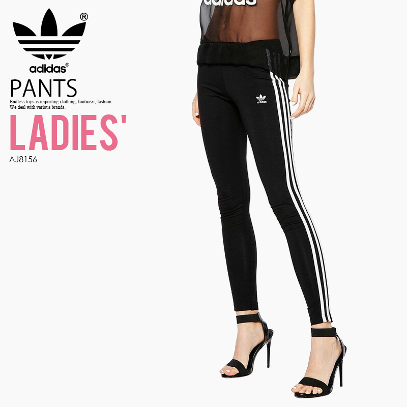 d65efcf1b3f5ad adidas (Adidas) WOMENS 3STRIPES LEGGINGS (3 stripe leggings) women leggings  BLACK/ ...