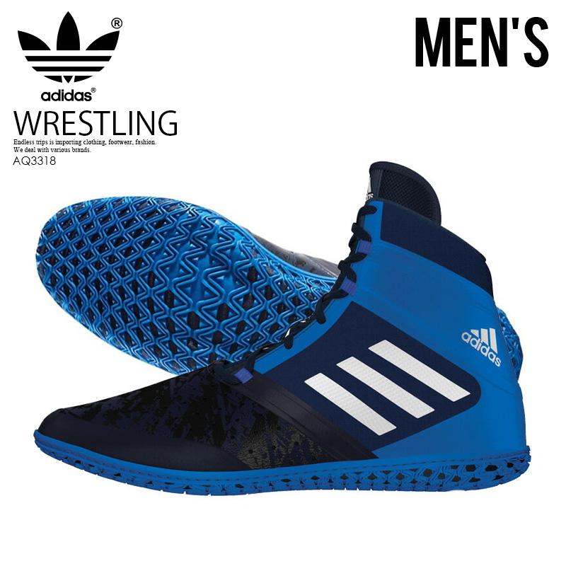 【希少!大人気!メンズ レスリングシューズ】 adidas(アディダス)FLYING IMPACT (フライング インパクト) WRESTLING SHOES ボクシング トレーニング CONAVY/SILVMT/SHOBLU (ネイビー/ブルー) AQ3318