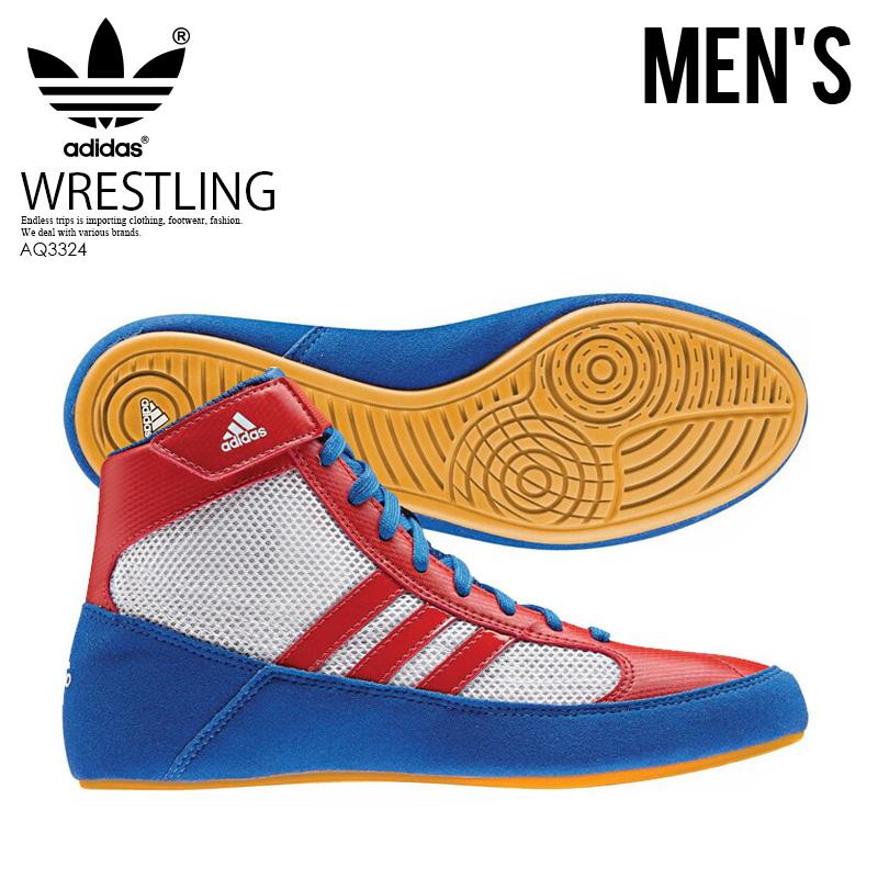 【希少!大人気!メンズ レスリングシューズ】 adidas(アディダス)HVC WRESTLING SHOES ボクシング トレーニング BLUE/VIVRED/FTWWHT (ブルー/レッド/ホワイト) AQ3324