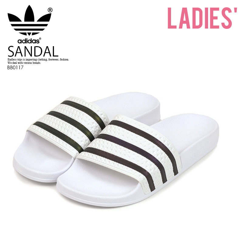 info for 902e8 857eb adidas (Adidas) ADILETTE (アディレッタ) WOMENS women MENS men sports shower Hel  sea sandals FTWWHTCBLACKFTWWHT (white  black) BB0117 ENDLESS TRIP ...