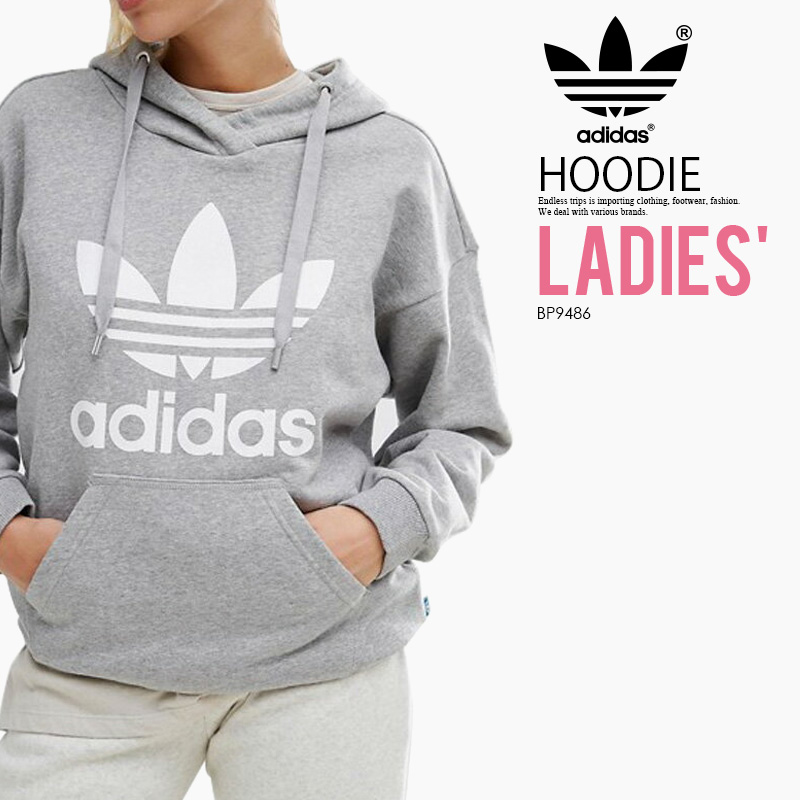 online retailer 5406d 9d9ad adidas (Adidas) TREFOIL HOODIE WOMENS (トレフォイルフーディー) sweat shirt parka  pullover logo MEDIUM GREY HEATHER WHITE (gray   white) BP9486